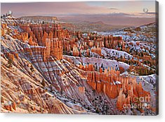 Morning Snow At Bryce Acrylic Print by Roman Kurywczak