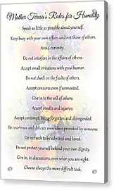 Mother Theresa's Rules For Humility Acrylic Print