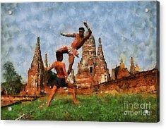 Muay Thai Arts Of Fighting Acrylic Print by Rames Ratyantarakor