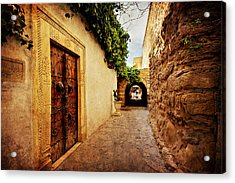 Acrylic Print featuring the photograph Narrow Street In Souk / Hammamet by Barry O Carroll