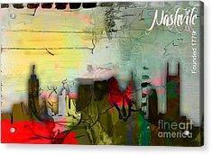 Nashville Skyline Watercolor Acrylic Print by Marvin Blaine