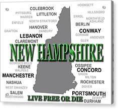 New Hampshire State Pride Map Silhouette  Acrylic Print