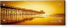 Newport Beach Pier Sunset Panorama Photo Acrylic Print by Paul Velgos