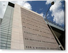 Acrylic Print featuring the photograph The Newseum by Cora Wandel