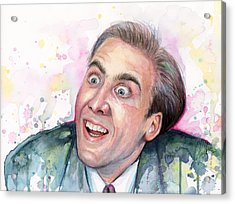 Nicolas Cage You Don't Say Watercolor Portrait Acrylic Print