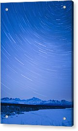 Night Time View Of Star Trails Over Mt Acrylic Print by Kevin Smith