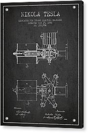 Nikola Tesla Patent Drawing From 1886 - Dark Acrylic Print by Aged Pixel