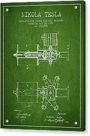 Nikola Tesla Patent Drawing From 1886 - Green Acrylic Print by Aged Pixel