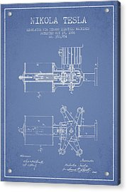 Nikola Tesla Patent Drawing From 1886 - Light Blue Acrylic Print by Aged Pixel
