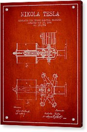 Nikola Tesla Patent Drawing From 1886 - Red Acrylic Print by Aged Pixel