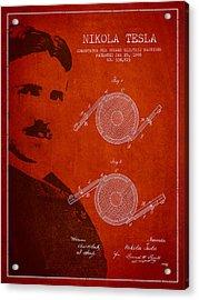 Nikola Tesla Patent From 1886 Acrylic Print by Aged Pixel