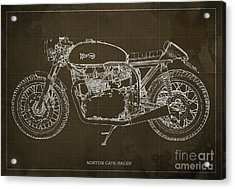 Norton Cafe Racer Blueprint Acrylic Print