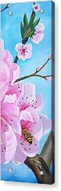 #2 Of Diptych Peach Tree In Bloom Acrylic Print