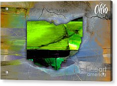 Ohio State Map Watercolor Acrylic Print