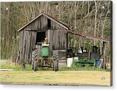 Old Barn Acrylic Print by Ronald Olivier