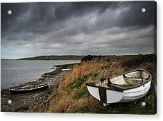 Old Decayed Rowing Boats On Shore Of Lake With Stormy Sky Overhe Acrylic Print by Matthew Gibson