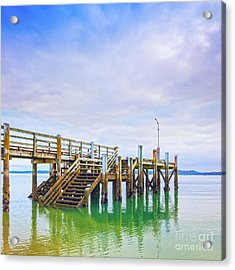 Old Jetty With Steps Maraetai Beach Auckland New Zealand Acrylic Print by Colin and Linda McKie