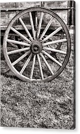 Old Wagon Wheel On Cart Acrylic Print by Olivier Le Queinec