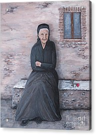 Old Woman Waiting Acrylic Print