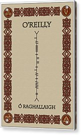Acrylic Print featuring the digital art O'reilly Written In Ogham by Ireland Calling
