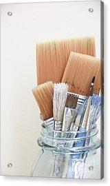 Paint Brushes In Jar Acrylic Print by Birgit Tyrrell