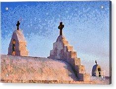 Panagia Paraportiani Church In Mykonos Island Acrylic Print by George Atsametakis