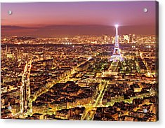 Acrylic Print featuring the photograph Paris Cityscape At Night / Paris by Barry O Carroll