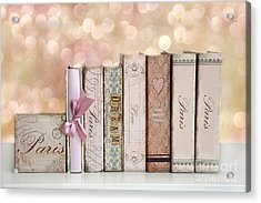 Paris Dreamy Shabby Chic Romantic Pink Cottage Books Love Dreams Paris Collection Pastel Books Acrylic Print by Kathy Fornal