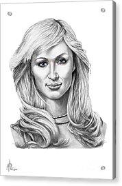 Paris Hilton Acrylic Print by Murphy Elliott