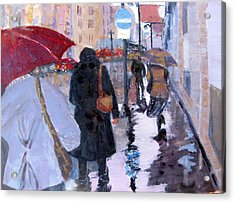 Paris In The Rain Acrylic Print