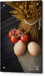 Pasta Ingredients Acrylic Print by Mythja  Photography