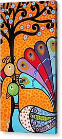 Acrylic Print featuring the painting 2 Peacocks And Tree by Pristine Cartera Turkus