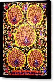 Peacocks-madhubani Paintings Acrylic Print