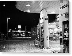 petro canada winter gas fuel pump at service station Regina Saskatchewan Canada Acrylic Print by Joe Fox