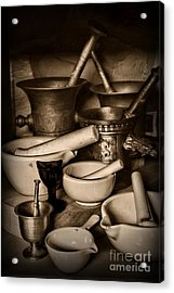 Pharmacy - Mortars And Pestles - Black And White Acrylic Print by Paul Ward