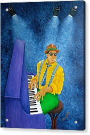 Piano Man Acrylic Print by Pamela Allegretto