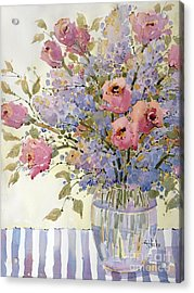Pink Roses And Lilacs Acrylic Print