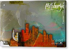 Pittsburgh Skyline Watercolor Acrylic Print by Marvin Blaine
