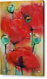 Acrylic Print featuring the painting Poppies I by Jani Freimann