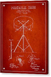 Portable Drum Patent Drawing From 1903 - Red Acrylic Print