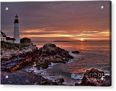 Portland Head Lighthouse Sunrise Acrylic Print by Alana Ranney