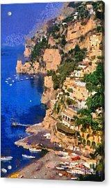 Positano Town In Italy Acrylic Print