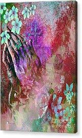 Praying Hands Flowers And Cross Acrylic Print