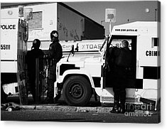Psni Officers In Protective Riot Gear At Landrovers On Crumlin Road At Ardoyne Shops Belfast 12th Ju Acrylic Print