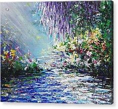 Purple Tree By The Lake Acrylic Print
