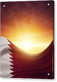 Qatar Flag Acrylic Print by Les Cunliffe