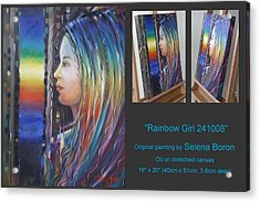 Acrylic Print featuring the painting Rainbow Girl 241008 by Selena Boron