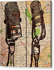 2 Rca Microphones Acrylic Print by William Cauthern