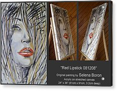 Acrylic Print featuring the painting Red Lipstick 081208 by Selena Boron