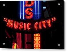 Red Neon Sign Nashville Crossroads Acrylic Print